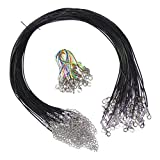 Lontenrea 50 Pcs Black Waxed Cotton Necklace Cord with Chain + 20pcs Lobster Claw Clasp (50pcs Black + 20pcs Lobster Claw Clasp)