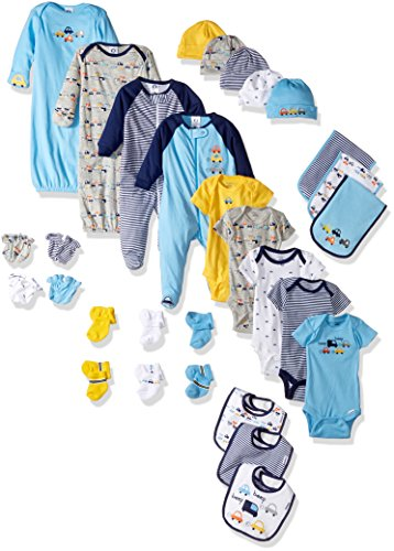 Gerber Baby Boys' 30-Piece Essentials Gift Set, Little Cars, - Newborn Burp Cloth Toddler