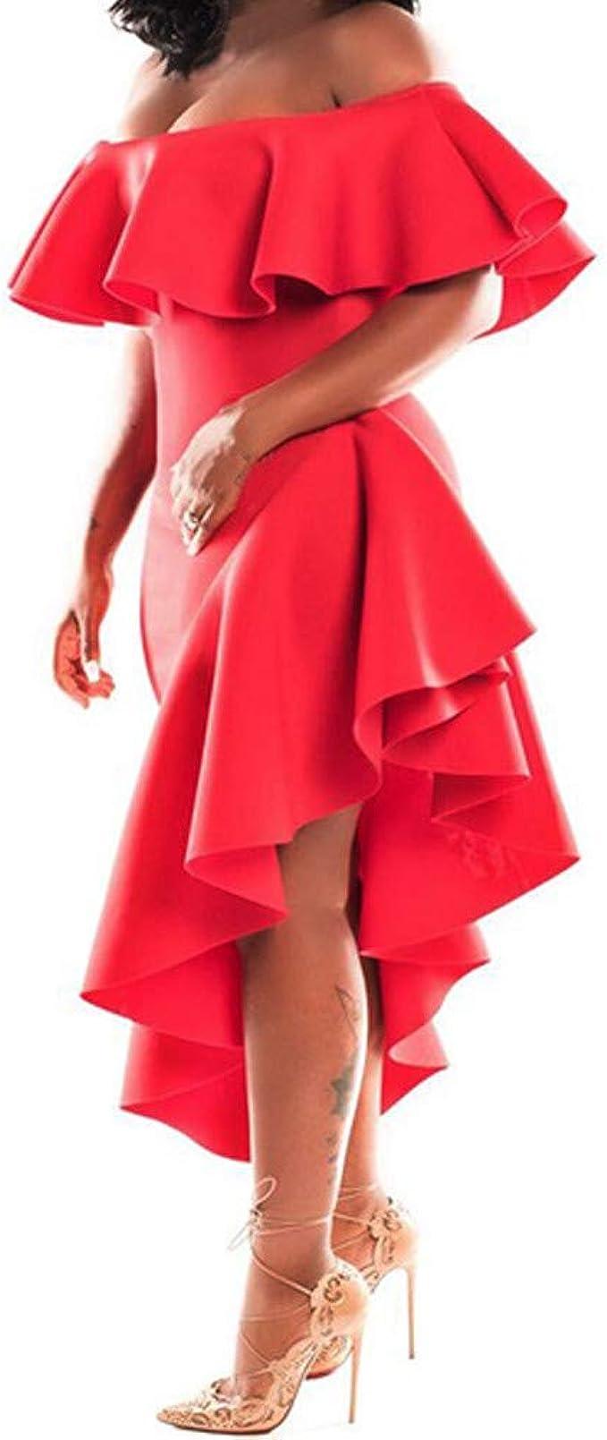 Sylar Vestidos Para Mujer Fiesta, Moda Cuello Halter Rojo Ruffle ...