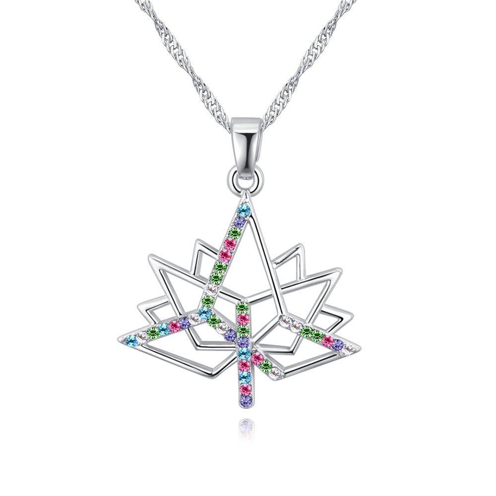 Sharefashion Maple Leaf Love Boutique Crystal Necklace and Earrings Jewelry (Colorful Necklace)