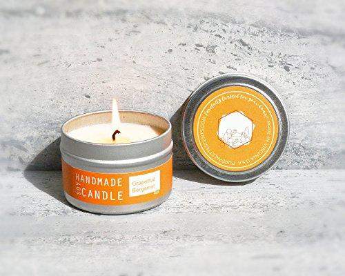 Grapefruit Bergamot Natural Spa Aromatherapy Soy Candle Travel Tin 20 Hour Burn Time Handmade