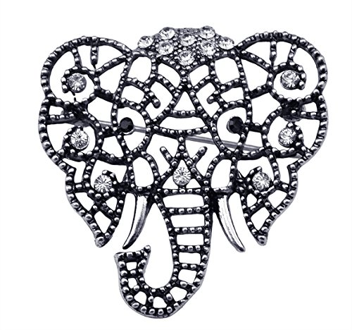 Idealway Vintage Gold Silver Plated Crystal Rhinestone Hollow Elephant Brooches Pin for Women (White) (Vintage White Gold Brooch)