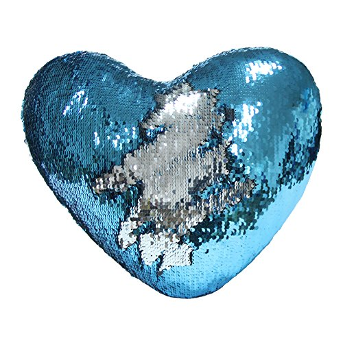 Play Tailor Mermaid Throw Pillow with Insert Reversible Sequins Pillow Heart Shape Decorative Cushion(13 x 15,Silver+Blue)