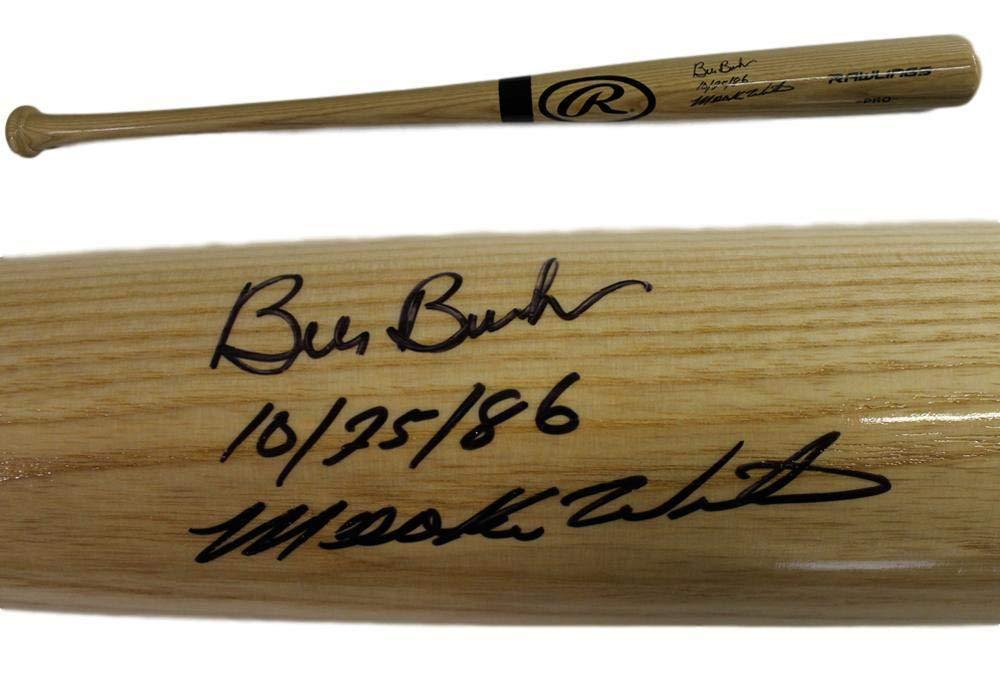 Bill Buckner /& Mookie Wilson Autographed//Signed Red Sox Mets Rawlings Bat 10//25//86 BAS