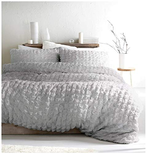Nicole Miller Home King Duvet Cover Set And Two King Shams 3 Piece Set  Cotton Ruffled Squares Grey (King)