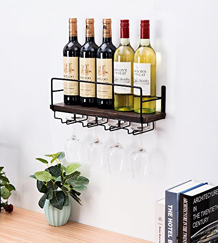 Soduku Wall Mounted Metal&Wood Wine Rack With 4 Long Stem Glass holder | Home & Kitchen Décor | Storage Rack by Soduku