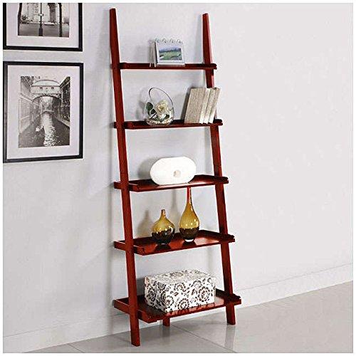 - Mintra Cherry Finish 5-Tier Ladder Book Shelf