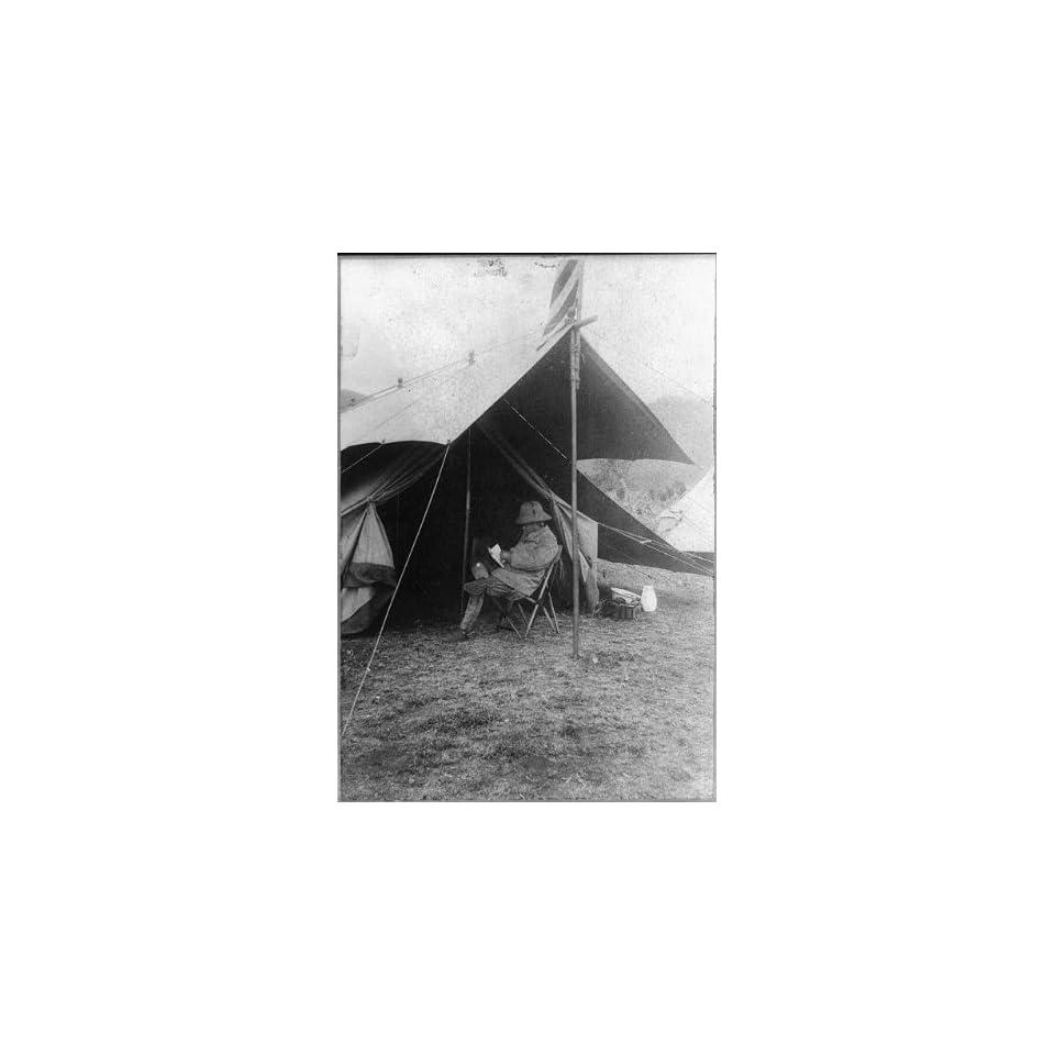 Photo Theodore Roosevelt reading,tent,hunting camp,big game,travel,safari,Africa,c1910