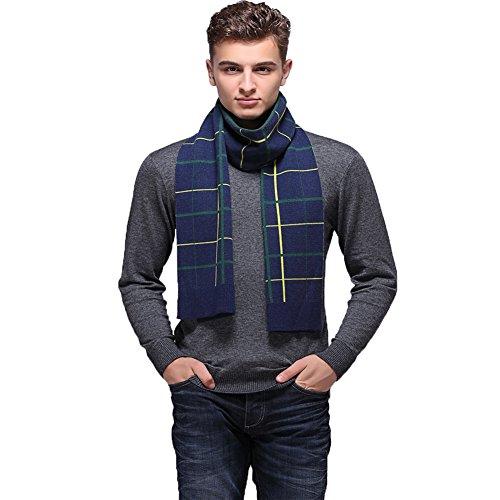 Ysiop Men Wool Scarf Knit Stripe Plaid Scarves Blue