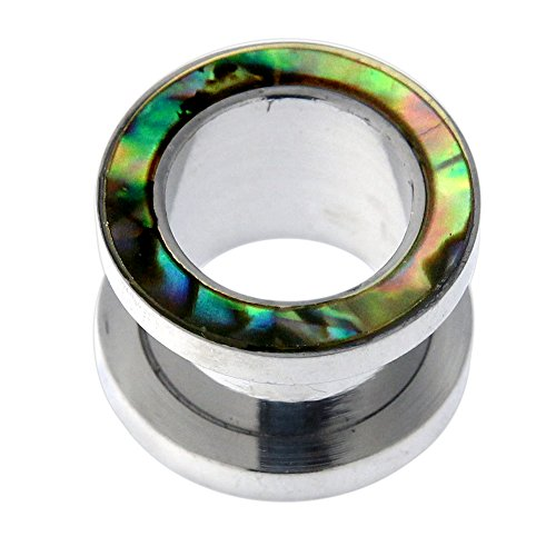 Abalone Shell Inlay Plug - PiercingPoint 00 Gauge - 10MM Abalone Shell Inlay 316L Surgical Steel Screw Fit Screw Fit Flesh Tunnel