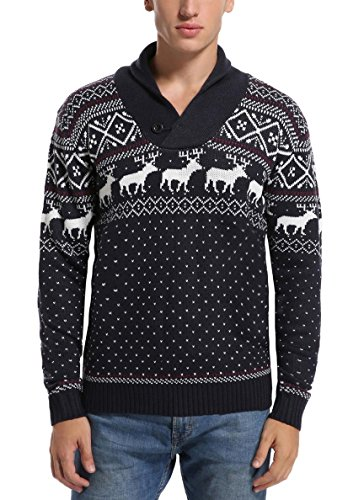 Daisyboutique Men's Christmas Reindeer Sweater Cute Ugly Pullover (Large, Reindeer ()