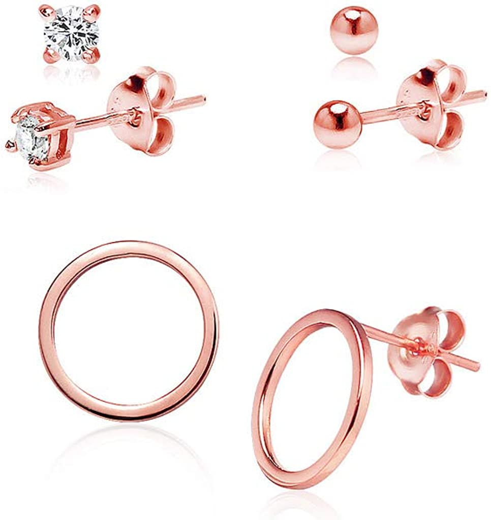 3mm-10mm Round Rose Gold Solid 925 Sterling Silver Solitaire Stud Post Earrings Round Pink CZ