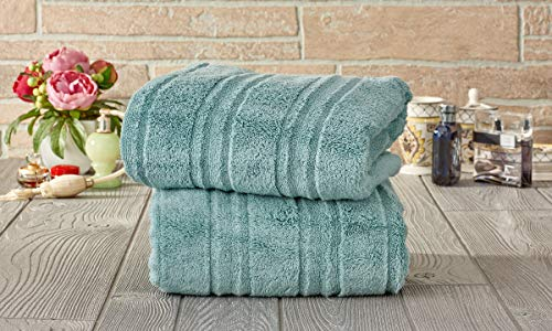Set of 2 Microcotton 100% Cotton Zero-Twist Extra Plush Oversized Bath Towels – Fade-Resistant Egyptian Cotton Hotel Quality, Luxury Super Soft Highly Absorbent Bathroom Towel 30″ x 60″ (Aqua)