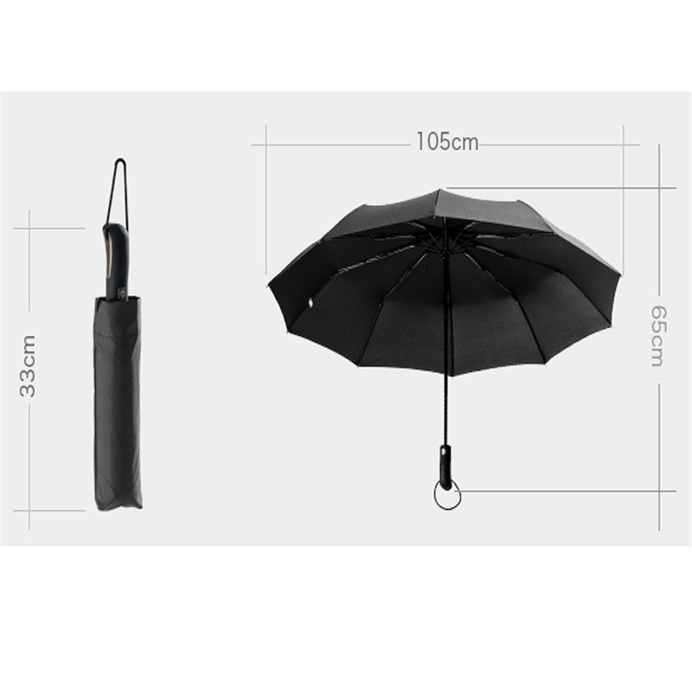 Guoke A Key To Business Men And Women Fully Automatic Folding Umbrella With Fine Rain Two King-Size Rugged, Purple by Guoke (Image #2)