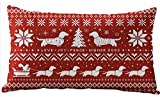 Bohemian Style Beige Ivory Christmas Tree Dachshund Snowflake Red Merry Christmas Gifts Cotton Linen Throw Lumbar Waist Pillow Case Cushion Cover Home Office Decorative Rectangle 12 X 20 Inches
