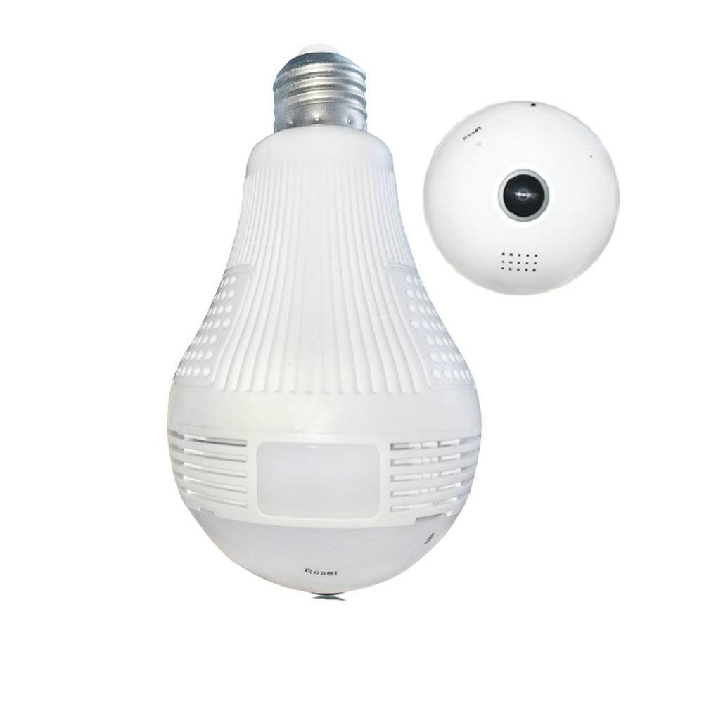 WiFi Bulb Camera, Asunflower LED Light Security Camera 360° Panoramic Fisheye 960P Cam 2 Way Audio Wireless Network Camera Home & Outdoor Remote Security Surveillance (960P)