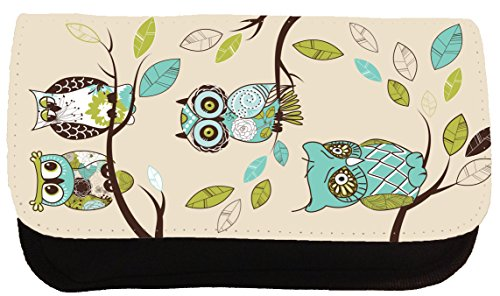 Cute Pencil Case Colorful Owl Illustrations Pencil Bag