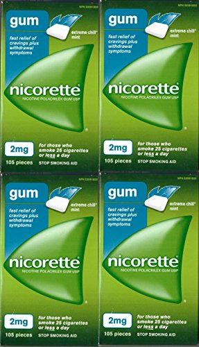 Nicorette Nicotine Gum: EXTREME CHILL MINT 2 MG (4 packs of 105, 420 Pieces) (Stop Smoking