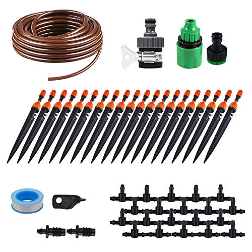 (KORAM 360 Degree Micro Sprayer and Dripper on Stake Irrigation Gardener's Greenhouse Plant Lawn Watering Drip Kit Accessories with 50ft 1/4