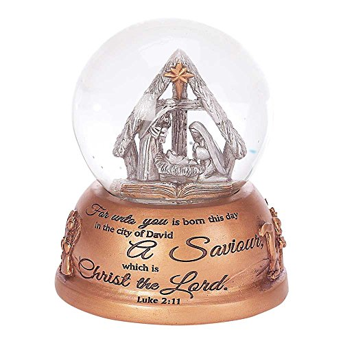 Dicksons Luke 2:11 Holy Family Resin Stone 80mm Christmas Nativity Musical Water Globe