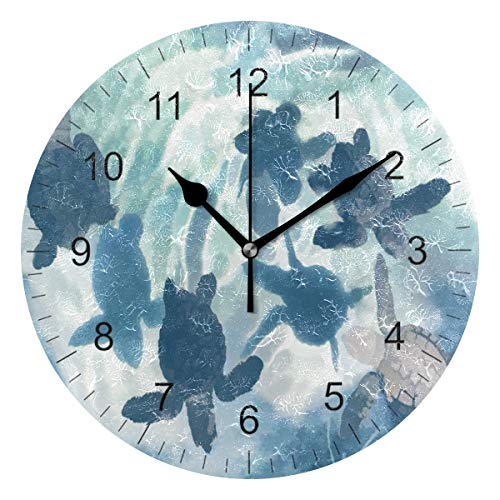 Wamika Wall Clock Sea Turtle Watercolor Blue Silent Non Ticking Round Wall Clocks, Ocean Swimming Sea Turtle Clocks 10 Inch Battery Operated Quartz Analog Quiet Desk Clock for Home Office - Clock Turtle Sea