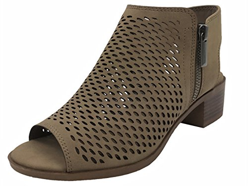 Open Toe Ankle Strap Bootie Sandal Low Heel Perforated Cutout, Taupe, 7.5