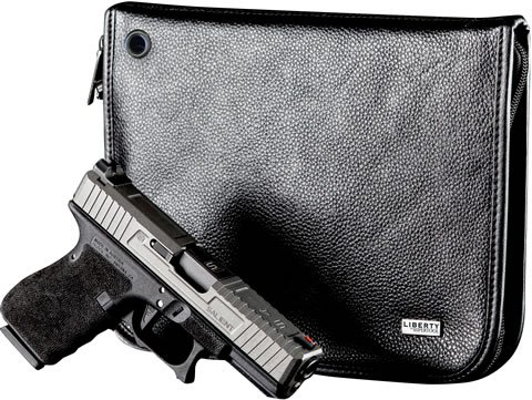 Liberty Safe Magnetic Handgun Case Leather Compact, Black
