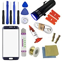 For Samsung Galaxy S6 Edge Screen Replacement, Sunmall Front Outer lens Glass Screen Replacement Repair Kit For Galaxy S6 Edge 5.1' G920 G925A G925F G925P G925T G925V G925R4 With UV Glue UV Torch (Navy blue)