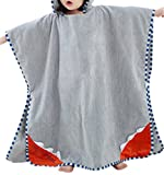 Kids Baby Girls Boys Toddler Cartoon Animal Bathrobe Hooded Beach Pool Bath Poncho Towel, Grey, One Size