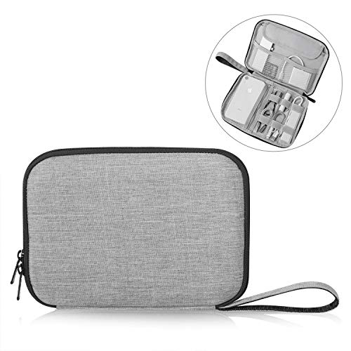 Patu Portable 8 Inch Tablet Sleeve Accessories Case, Home Travel Organizer for iPad Mini 4 3 2, Tablets Up to 8, E-Readers, Hard Drives, Power Banks, Adapters, Cables, Memory Cards, Gray