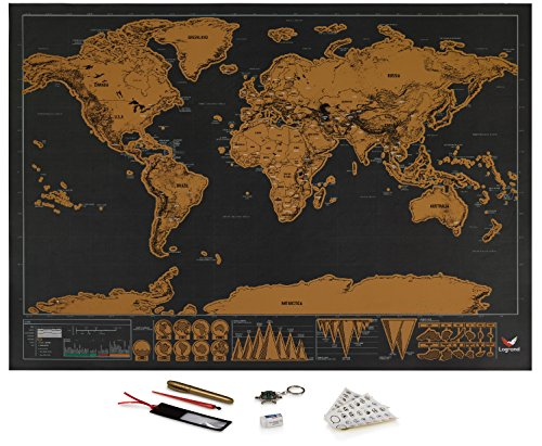 Logrand Scratch Off World Map Poster with 7 Free Accessories   Detailed World Travel Tracker Poster   Premium Scratchable Film and Anti-Tear Paper   Black and Gold Great Travelers Gift 16.5 x 11.8
