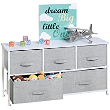 mDesign Extra Wide Dresser Storage Tower - Sturdy Steel Frame, Wood Top, Easy Pull Fabric Bins - Organizer Unit for Child/Kids Bedroom or Nursery - Textured Print - 5 Drawers, Gray/White