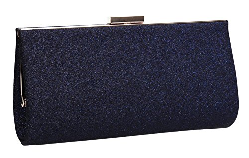 Frances Ladies Glitter Clutch Diamante Bag Party Navy Blue Wedding Prom Womens SWANKYSWANS dATOd