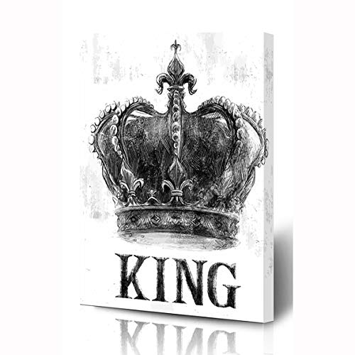 Ahawoso Canvas Prints Wall Art 8x12 Inches Brooklyn Rock King Crown Tee Graphic Motorcycle Vintage Music Retro Slogan Varsity Roll Rider Wooden Frame Printing Home Living Room Office Bedroom