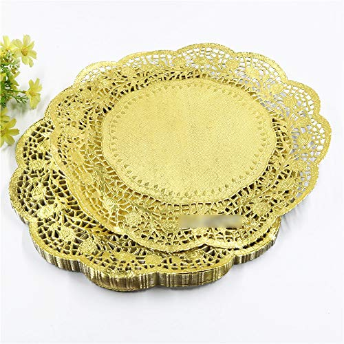 (100 pcs/pack) 12 inches gold colored round paper lace doilies cupcake bread placemats home dinner tableware