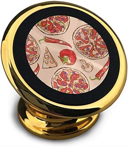 ピザ 携帯電話ホルダー おしゃれ 車載ホルダー 人気 磁気ホルダー 大きな吸引力 サポートフレーム 落下防止 360度回転
