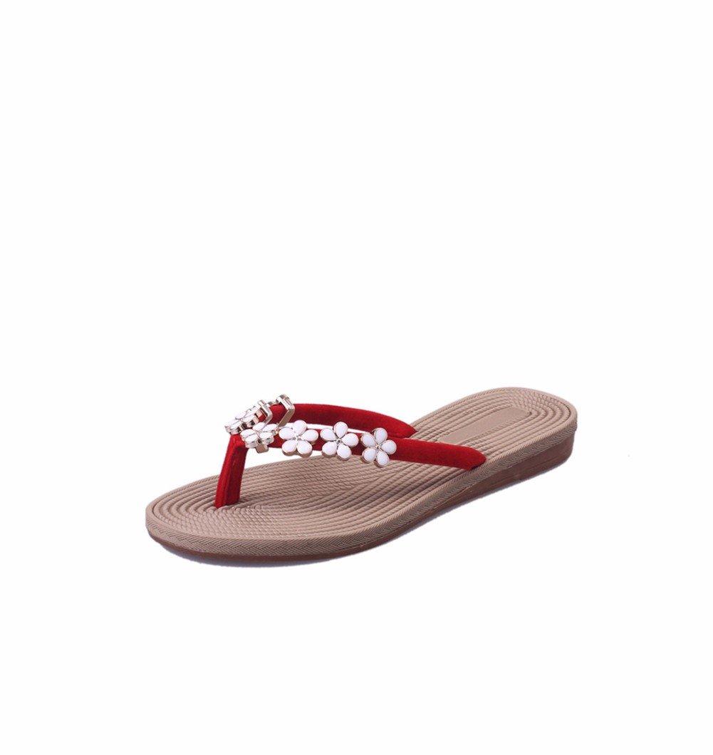 YUCH Chaussons Sandals Femmes B00E0WMAXE Fleurs Anti-Slip Flat Sandals Flat Red 389dca2 - automatisms.space