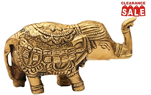 "Clearance Items Sale 50% off - SouvNear 4.2"" Trunk-Up Baby Elephant Figurines - Decorative Elephant Brass Sculpture / Statue"