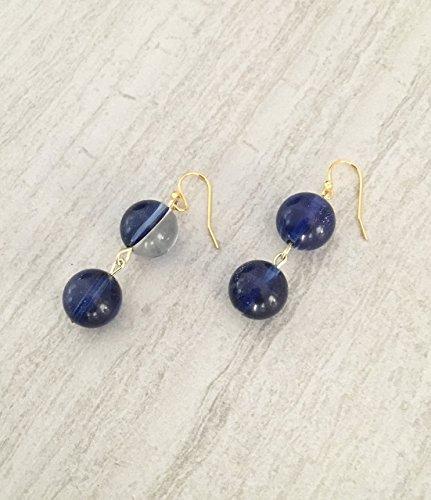Beaded Solar Ring (Blue Solar Quartz Bead Earrings)
