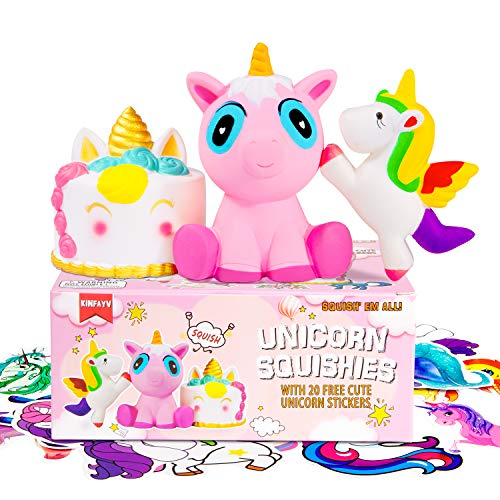 KINFAYV 3PCS Jumbo Unicorn Squishies Toys - Cake Pink Unicorn Rainbow Unicorn Slow Rising Scented Squishies Stress Relief Soft Kawaii Toy Gift Box & for Kids, Birthdays, Parties, Christmas