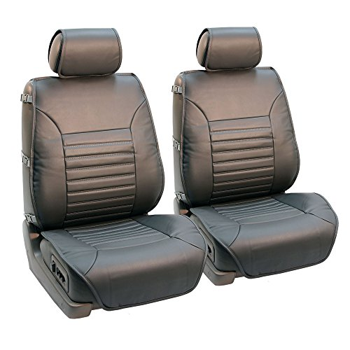 FH Group PU206GRAY102 Gray Multifunctional Quilted Leather Front Seat Cushion, Set of 2 (W. Seatback Organizer Storage - Airbag - Organizer Deluxe Front