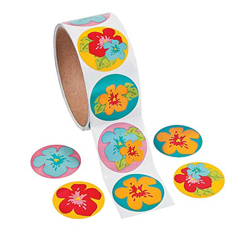 Fun Express - Hibiscus Stickers for Summer - Stationery - Stickers - Stickers - Roll - Summer - 1 Piece ()