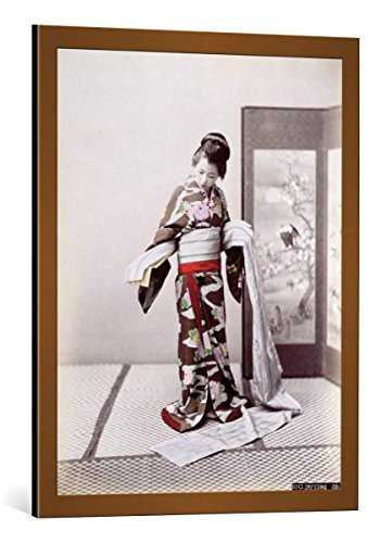 kunst für alle Framed Art Print: Japanese School Young Japanese Girl Dressing Late 19th Century - Decorative Fine Art Poster, Picture with Frame, 24x30 inch, Copper Brushed ()