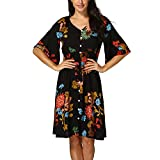 Women Summer Dress Casual Boho Button UP Split Swing A-Line Pleated Beach Floral Print Party Loose Dressfor Womens Black
