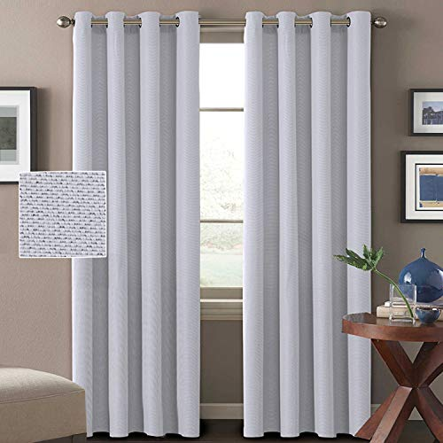 Linen Curtains White 84 Room Darkening Linen Look Curtains Light Blocking Curtains Thermal Insulated Heavy Weight Textured Rich Linen Curtains for Bedroom, 52 by 84 Inch - Greyish White (1 Panel)