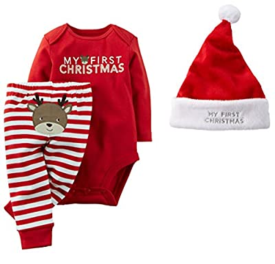 3 Piece Baby's 1st Christmas Outfit and Santa Hat Set from Carter's