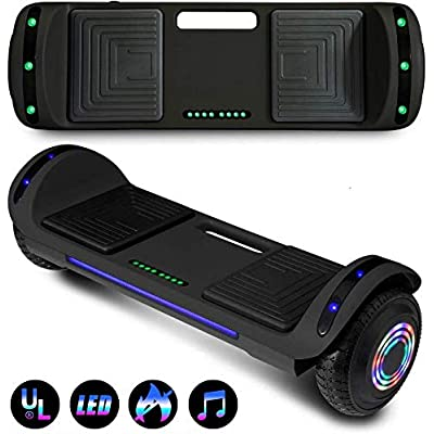 "Decorlife Hoverboard Self Balancing Scooter 6.5"" Two-Wheel Self Balancing Hoverboard with Bluetooth Speaker & LED Lights Electric Scooter for Adult Kids Gift UL 2272 Certified(Black): Sports & Outdoors"