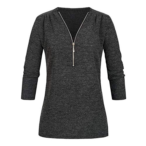 SMALLE ◕‿◕ Clearance,Womens Casual Tops Shirt Ladies V Neck Zipper Loose T-Shirt Blouse Tee Top