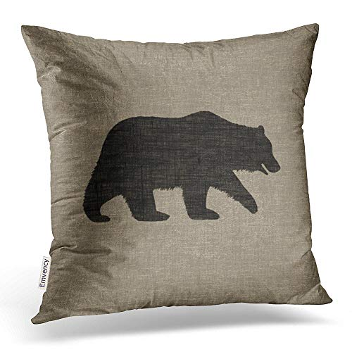 Emvency Square 20x20 Inches Decorative Pillowcases Bear Grizzly Bear Silhouette Faux Style Cotton Polyester Decor Throw Pillow Cover With Hidden Zipper For Bedroom -