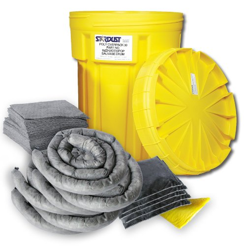 Stardust Spill Products 920U 20 Gallon Universal Spill Kit Includes 20 Gallon Bright Yellow Overpack Drum, 20 Universal Sorbent Pads, 6 Universal Sorbent Socks 3''x4', 2 Universal Sorbent Pillows 9x15, 1 Pair Nitrile Gloves, 3 Heavy Duty Disposal Bags